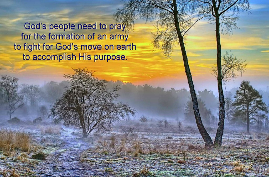 Praying at the Incense Altar for the Formation of an Army to Fight for God's Move [in the picture: God's people need to pray for the formation of an army to fight for God's move on earth to accomplish His purpose.]