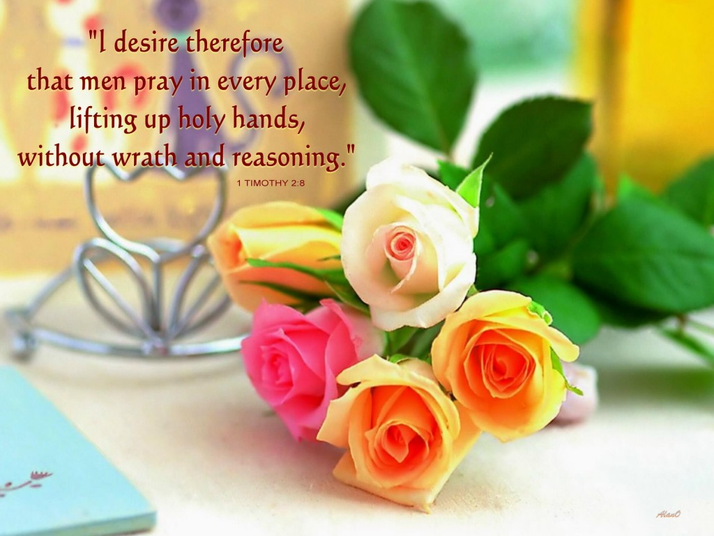 """I desire therefore that men pray in every place, lifting up holy hands, without wrath and reasoning"" (1 Tim. 2:8)"