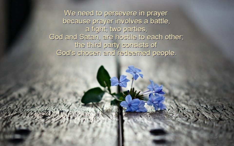 Why do we need to persevere in prayer? According to the Bible and also according to our experience, prayer involves a battle, a fight, a struggle.[In the picture: We need to persevere in prayer because prayer involves a battle, a fight; two parties, God and Satan, are hostile to each other; the third party consists of God's chosen and redeemed people.]