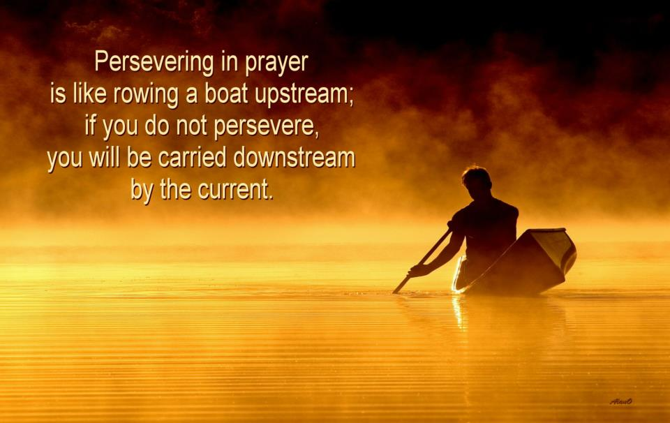 The whole world today is going downstream, but we need to refuse to be a dead leaf carried by the stream and rather be the living salmon swimming upstream by going against the trend of the age and pray with perseverance. [In the picture: Persevering in prayer is like rowing a boat upstream; if you do not persevere, you will carried downstream by the current.]