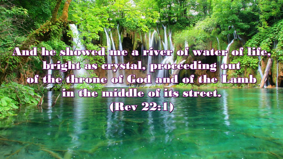 Rev. 22:1, And He showed me a river of water of life bright as crystal proceeding out of the throne of God and of the Lamb in the middle of its street