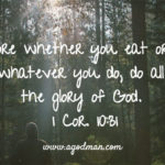 1 Cor. 10:31 Therefore whether you eat or drink, or whatever you do, do all to the glory of God.