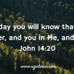 John 14:20 In that day you will know that I am in My Father, and you in Me, and I in you.