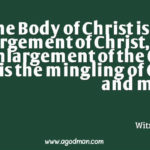 The Body of Christ is the enlargement of Christ, the enlargement of the One who is the mingling of God and man. Witness Lee
