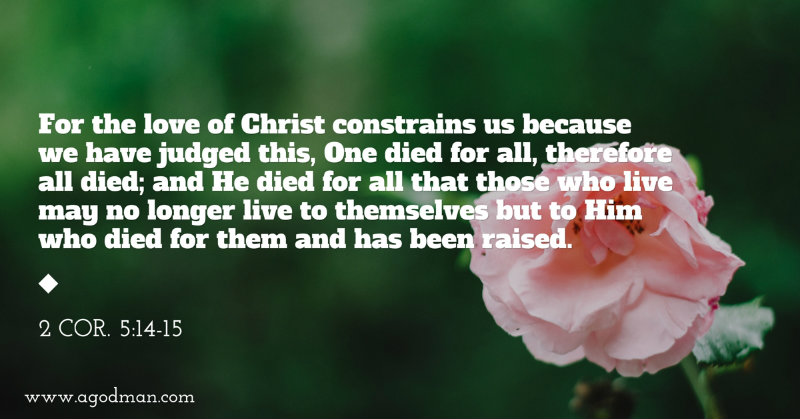 2 Cor. 5:14-15 For the love of Christ constrains us because we have judged this, One died for all, therefore all died; and He died for all that those who live may no longer live to themselves but to Him who died for them and has been raised.