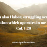 Col. 1:29 For which also I labor, struggling according to His operation which operates in me in power.