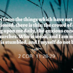 2 Cor. 11:28-29 Apart from the things which have not been mentioned, there is this: the crowd of cares pressing upon me daily, the anxious concern for all the churches. Who is weak, and I am not weak? Who is stumbled, and I myself do not burn?