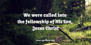 we were called into the fellowship of His Son, Jesus Christ