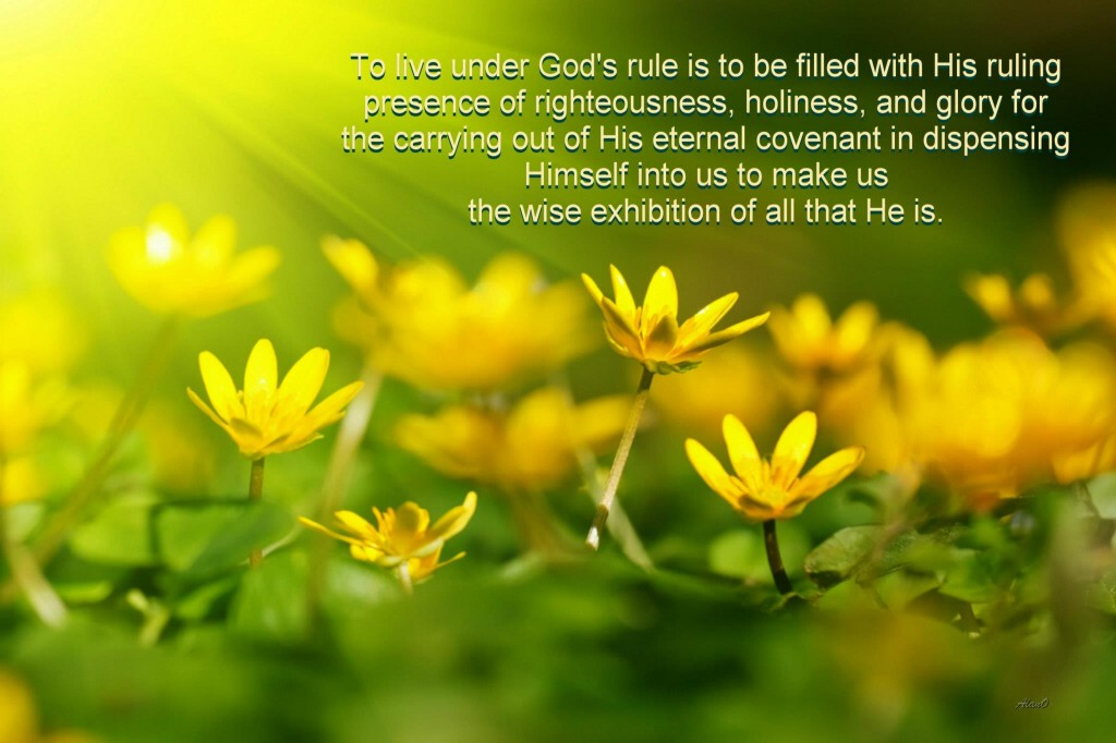 To live under God's rule is to be filled with His ruling presence of righteousness, holiness, and glory for the carrying out of His eternal covenant in dispensing Himself into us to make us the wise exhibition of all that He is.
