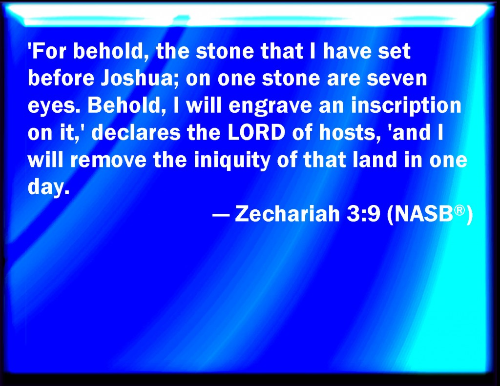 Zech. 3:9 For here is the stone that I have set before Joshua—upon one stone are seven eyes. I will engrave its engraving, declares Jehovah of hosts, and I will remove the iniquity of that land in one day. [NASB version in the picture]