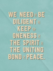 Bearing one Another in Love and Keeping the Oneness in the Uniting Bond of Peace