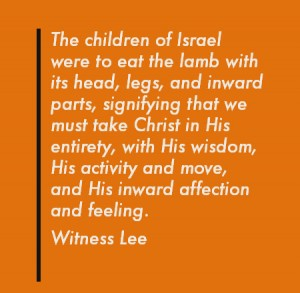 Eating Christ as the Lamb of God who was Roasted by the Fire of God's Judgement