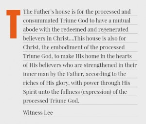 The Functions of the Father's House, the Son's True Vine, and the Spirit's New Man
