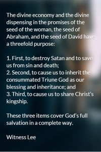 God's Covenant with David: Christ as the Seed of David Carries out God's Economy