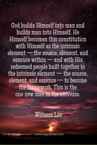God became Man to make Man God for us to have a God-man Living as the Body of Christ