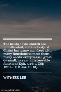 In the Church All the Gifts, Functions, and Experiences of Christ must be Balanced