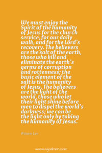 Daily Drinking the Humanity of Jesus to be Jesusly Human in the World for the Church