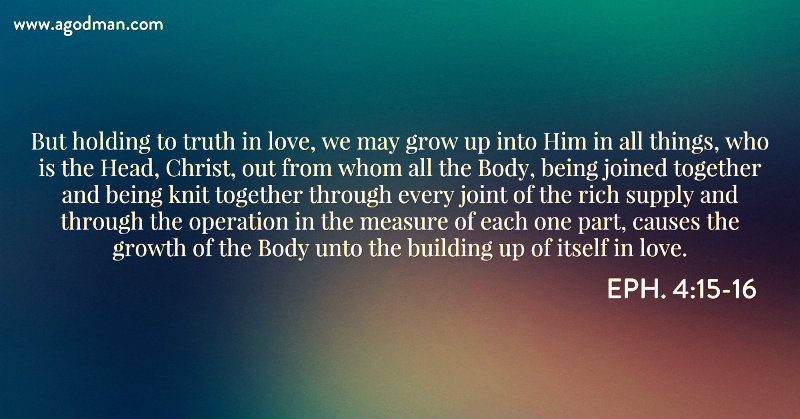 Eph. 4:15-16 But holding to truth in love, we may grow up into Him in all things, who is the Head, Christ, out from whom all the Body, being joined together and being knit together through every joint of the rich supply and through the operation in the measure of each one part, causes the growth of the Body unto the building up of itself in love.