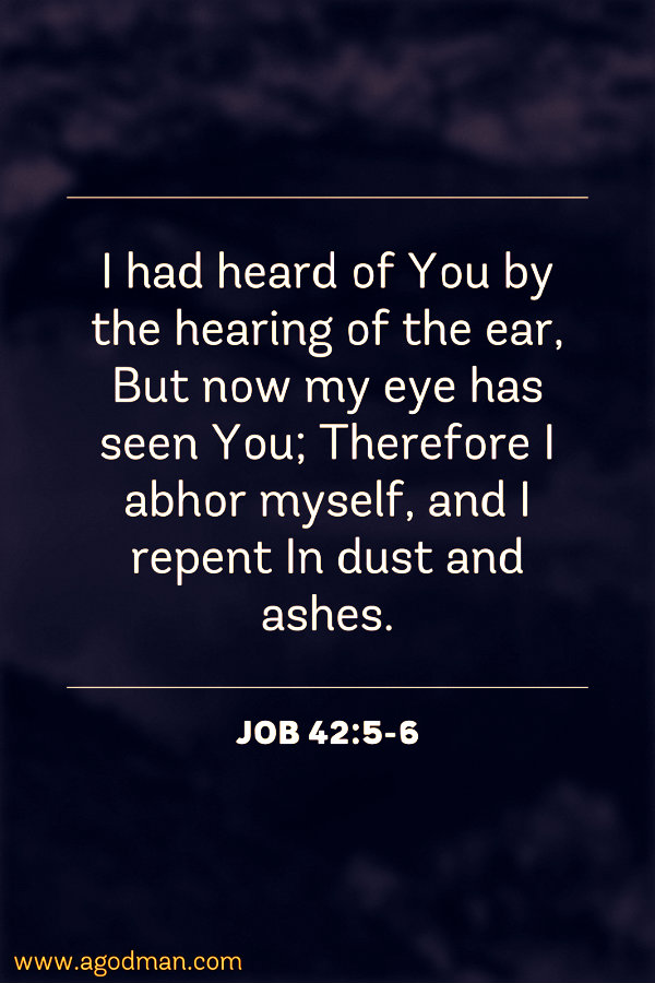Job 42:5-6 I had heard of You by the hearing of the ear, But now my eye has seen You; Therefore I abhor myself, and I repent In dust and ashes.