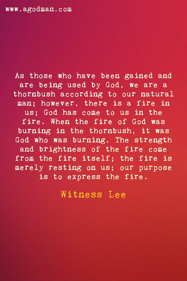 As those who have been gained and are being used by God, we are a thornbush according to our natural man; however, there is a fire in us; God has come to us in the fire. When the fire of God was burning in the thornbush, it was God who was burning. The strength and brightness of the fire come from the fire itself; the fire is merely resting on us; our purpose is to express the fire. Witness Lee