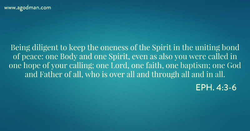 Eph. 4:3-6 Being diligent to keep the oneness of the Spirit in the uniting bond of peace: one Body and one Spirit, even as also you were called in one hope of your calling; one Lord, one faith, one baptism; one God and Father of all, who is over all and through all and in all.