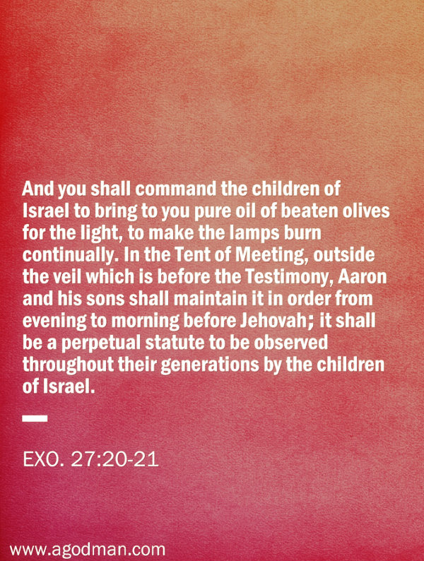 Exo. 27:20-21 And you shall command the children of Israel to bring to you pure oil of beaten olives for the light, to make the lamps burn continually. In the Tent of Meeting, outside the veil which is before the Testimony, Aaron and his sons shall maintain it in order from evening to morning before Jehovah; it shall be a perpetual statute to be observed throughout their generations by the children of Israel.