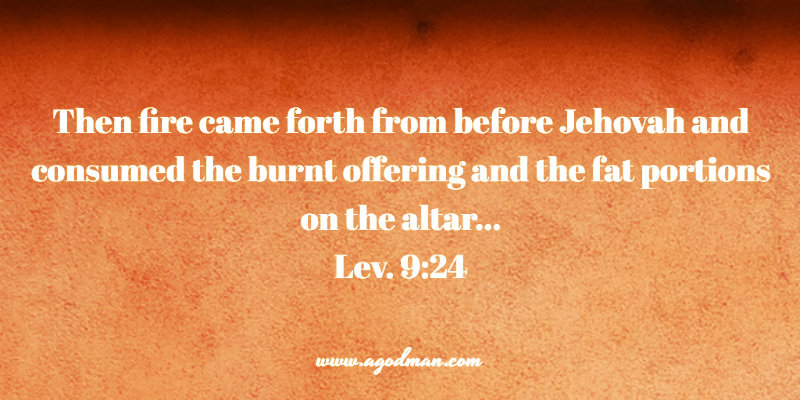 Lev. 9:24 Then fire came forth from before Jehovah and consumed the burnt offering and the fat portions on the altar...