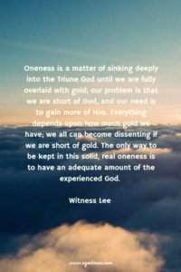 Oneness is a matter of Sinking Deeply into the Triune God until We're Mingled with Him