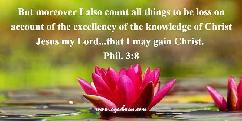 Phil. 3:8 But moreover I also count all things to be loss on account of the excellency of the knowledge of Christ Jesus my Lord...that I may gain Christ.