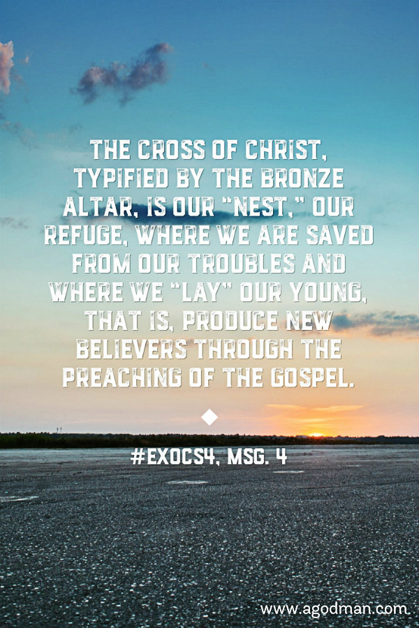 """The cross of Christ, typified by the bronze altar, is our """"nest,"""" our refuge, where we are saved from our troubles and where we """"lay"""" our young, that is, produce new believers through the preaching of the gospel. #ExoCS4, msg. 4"""