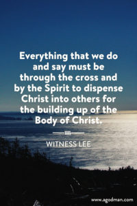 Allowing the Uniting Spirit to Cross us and Join us to other Believers in the Body