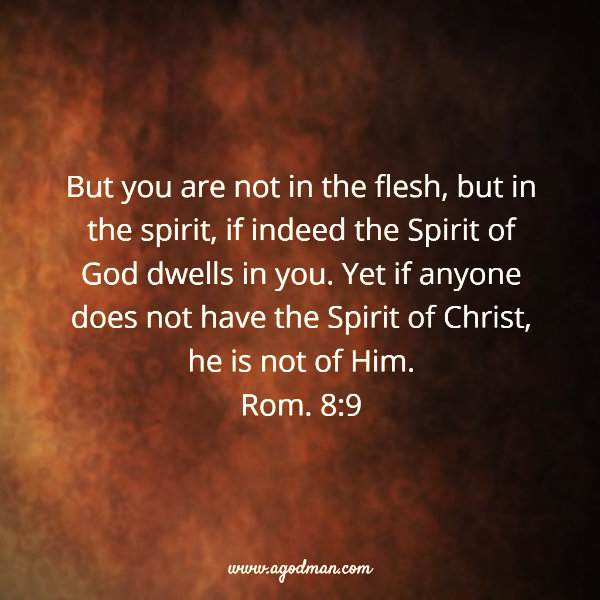 Rom. 8:9 But you are not in the flesh, but in the spirit, if indeed the Spirit of God dwells in you. Yet if anyone does not have the Spirit of Christ, he is not of Him.
