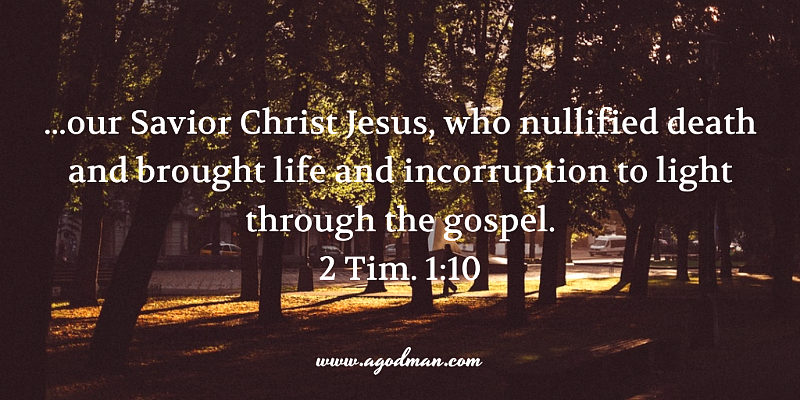 2 Tim. 1:10 ...our Savior Christ Jesus, who nullified death and brought life and incorruption to light through the gospel.