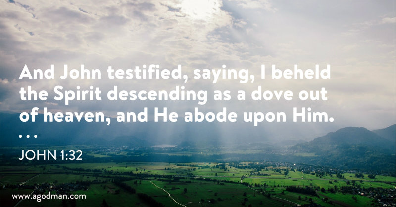 John 1:32 And John testified, saying, I beheld the Spirit descending as a dove out of heaven, and He abode upon Him.
