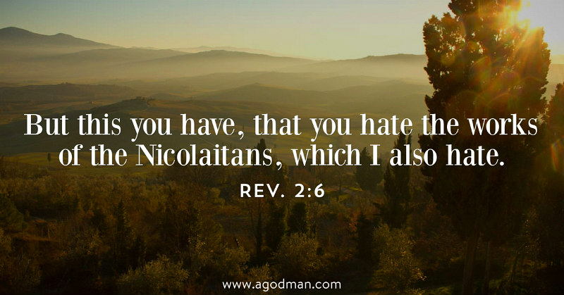 Rev. 2:6 But this you have, that you hate the works of the Nicolaitans, which I also hate.