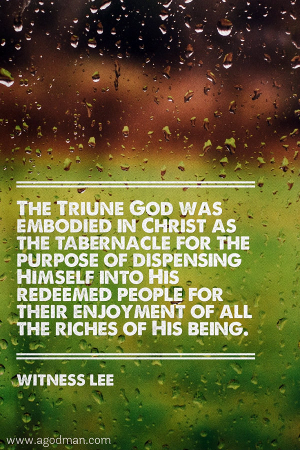The Triune God was embodied in Christ as the tabernacle for the purpose of dispensing Himself into His redeemed people for their enjoyment of all the riches of His being. Witness Lee