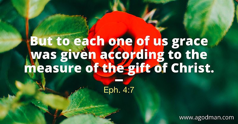 Eph. 4:7 But to each one of us grace was given according to the measure of the gift of Christ.
