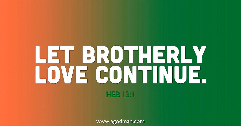 Heb 13:1 Let brotherly love continue.