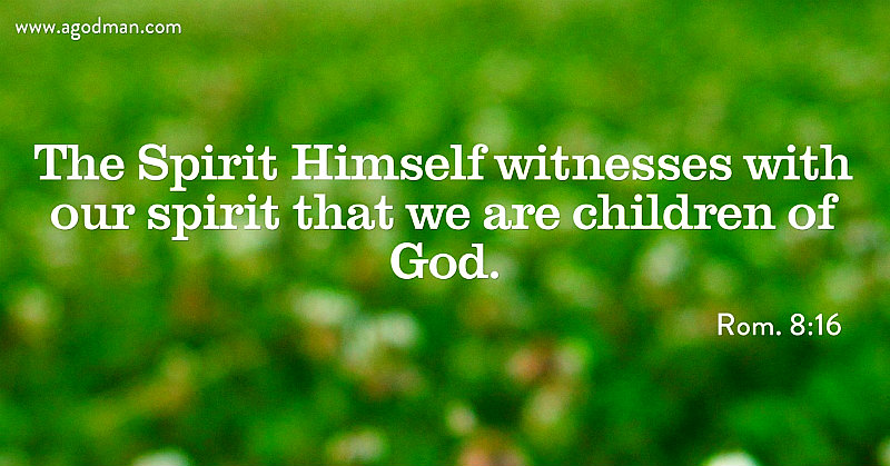 Rom. 8:16 The Spirit Himself witnesses with our spirit that we are children of God.