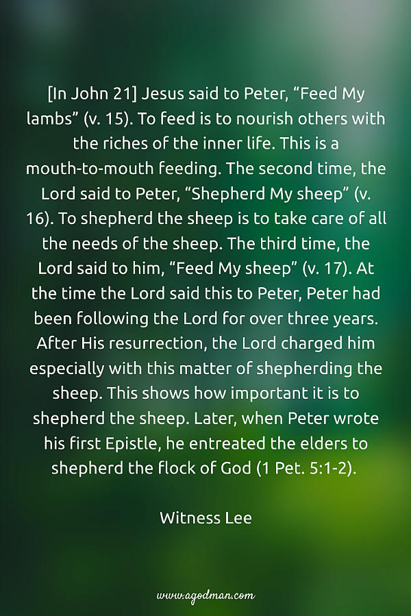 "[In John 21] Jesus said to Peter, ""Feed My lambs"" (v. 15). To feed is to nourish others with the riches of the inner life. This is a mouth-to-mouth feeding. The second time, the Lord said to Peter, ""Shepherd My sheep"" (v. 16). To shepherd the sheep is to take care of all the needs of the sheep. The third time, the Lord said to him, ""Feed My sheep"" (v. 17). At the time the Lord said this to Peter, Peter had been following the Lord for over three years. After His resurrection, the Lord charged him especially with this matter of shepherding the sheep. This shows how important it is to shepherd the sheep. Later, when Peter wrote his first Epistle, he entreated the elders to shepherd the flock of God (1 Pet. 5:1-2). Witness Lee"
