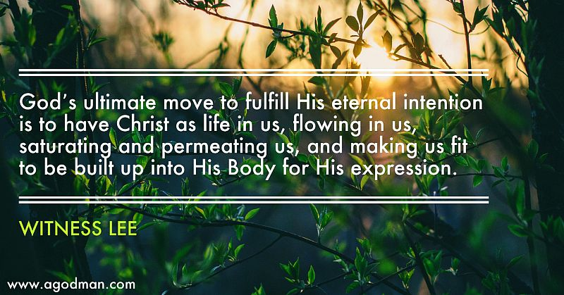 God's ultimate move to fulfill His eternal intention is to have Christ as life in us, flowing in us, saturating and permeating us, and making us fit to be built up into His Body for His expression. Witness Lee