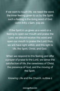Obeying the Inner Feeling from the Spirit, God's Living Word, as we Read the Bible