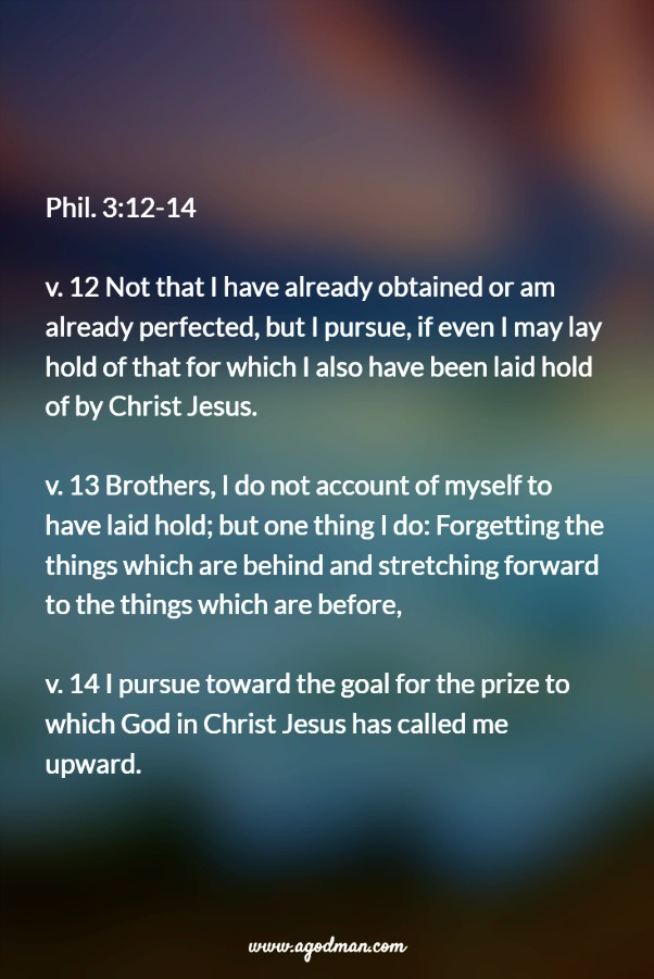Phil. 3:12-14 v. 12 Not that I have already obtained or am already perfected, but I pursue, if even I may lay hold of that for which I also have been laid hold of by Christ Jesus. v. 13 Brothers, I do not account of myself to have laid hold; but one thing I do: Forgetting the things which are behind and stretching forward to the things which are before, v. 14 I pursue toward the goal for the prize to which God in Christ Jesus has called me upward.