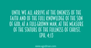 We need to Grow Up into the Head, Christ, in All Things until We are All One in Him
