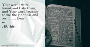 Coming to the Word of God, Finding God's Words, and Feeding on them in the Morning