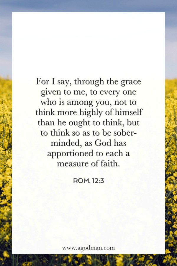 Rom. 12:3 For I say, through the grace given to me, to every one who is among you, not to think more highly of himself than he ought to think, but to think so as to be sober-minded, as God has apportioned to each a measure of faith.