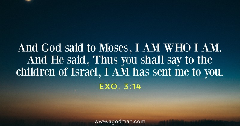 Exo. 3:14 And God said to Moses, I AM WHO I AM. And He said, Thus you shall say to the children of Israel, I AM has sent me to you.
