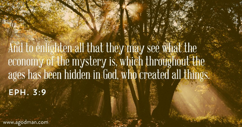 Eph. 3:9 And to enlighten all that they may see what the economy of the mystery is, which throughout the ages has been hidden in God, who created all things.