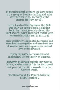 The Lord's Recovery of the Church has been Gradual and Progressive throughout History