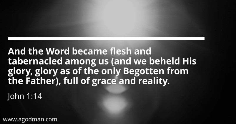 John 1:14 And the Word became flesh and tabernacled among us (and we beheld His glory, glory as of the only Begotten from the Father), full of grace and reality.